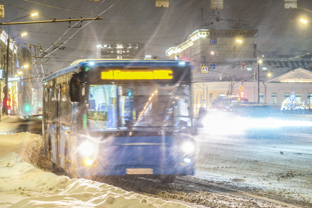 Moscow, Russia - March, 5, 2017: trolley bus in Moscow in winter Banco de Imagens