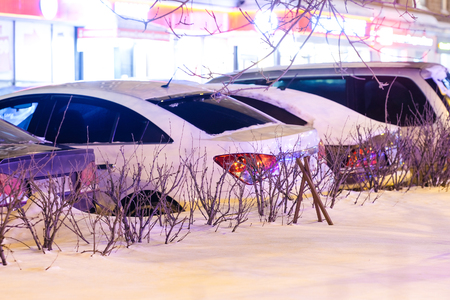 Moscow, Russia - March, 1, 2017: Cars on a Moscow parking in winter