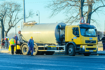 St. Petersburg, Russia - April, 15, 2018: roadwork in St. Petersburg Editorial