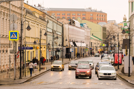Moscow, Russia - April, 2, 2018: traffic in the center of Moscow