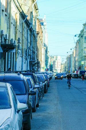 the image of a cars parking on the street in St. Petersburg