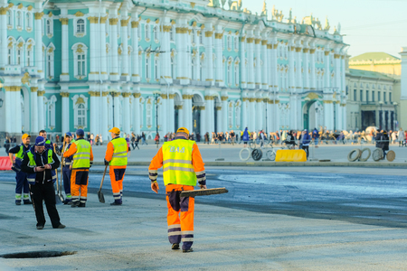 St. Petersburg, Russia - April, 15, 2018: roadwork in St. Petersburg on Dvortsovaya square