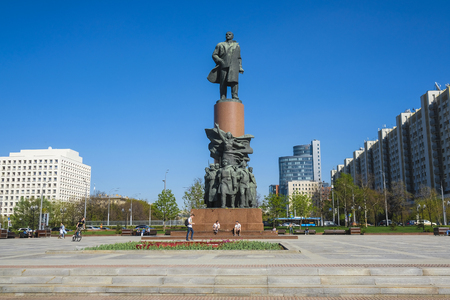 Moscow, Russia - May, 3, 2018: Monument of Lenin on Kalugskaya Square in Moscow