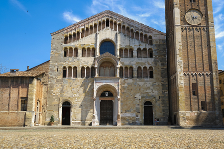center of Parma with Parma Cathedral and Baptistery, Italy
