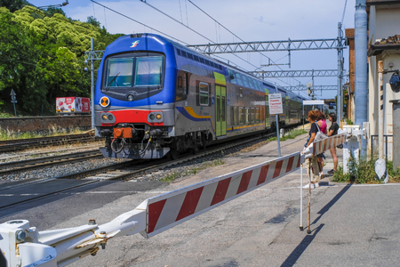 Moncelice, Italy - June, 14, 2018:  the train approaches the Moncelice station in Italy
