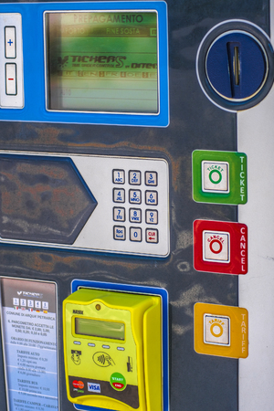 Parking machine close up