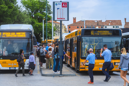 Venice, Italy - June, 28: bus station in Venice Editoriali