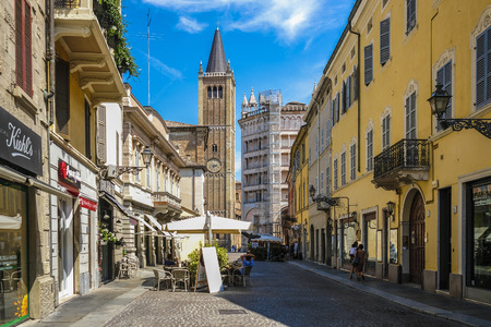 Parma, Italy - July, 9, 2018: center of Parma with Parma Cathedral and Baptistery, Italy