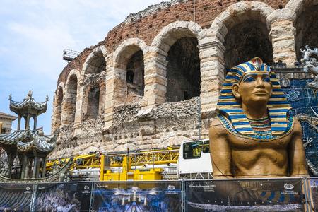 Verona, Italy - July, 15, 2018: scenery of arena de Verona, Italy