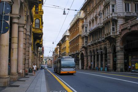 Genoa, Italy - June, 12, 2018: Trolleybus in Genoa, Italy