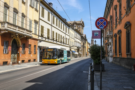Parma, Italy - July, 9, 2018: bus on a street in a center of Parma, Italy