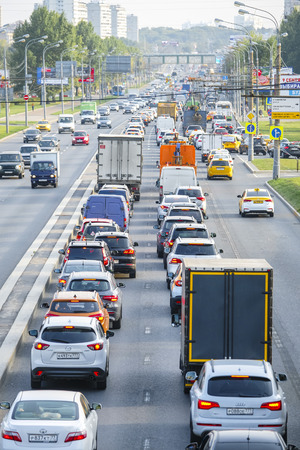 Moscow, Russia - September, 4, 2018: traffic jam in Moscow, Russia