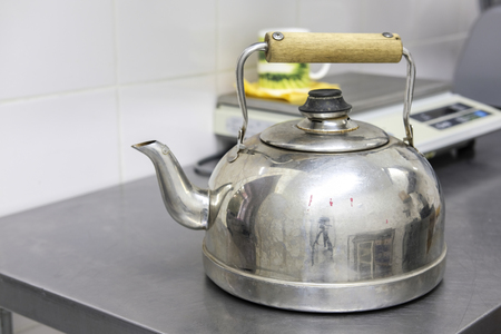 Moscow, Russia - September, 24, 2018: kettle in a kitchen in Moscow privet school