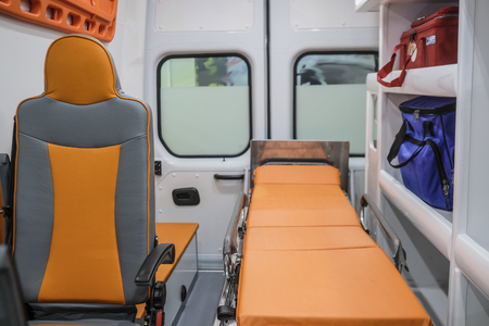 Interior of an empty ambulance car
