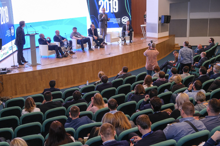 Moscow, Russia - April, 12, 2019: conference of Russian Car Dillers Association in Moscow, Russia Standard-Bild - 120916830