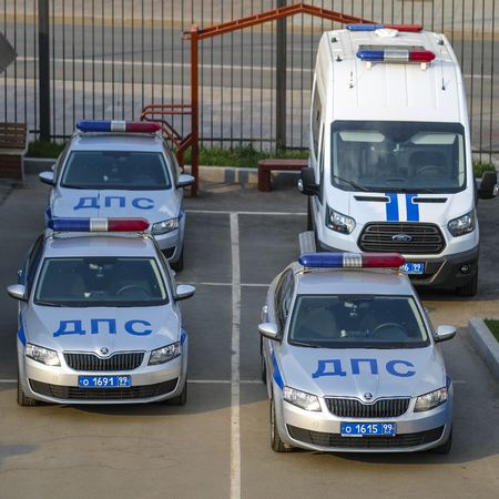 Moscow, Russia - April, 28, 2019: police cars on a parking in Moscow, Russia Editorial