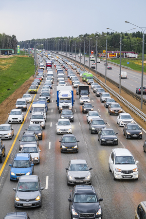 East Butovo, Moscow region, Russia - May, 6, 2019: weekend traffic jam on a highway in Moscow region, Russia Editorial