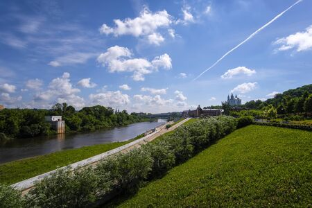 landscape with the image of the channel of the Dnieper River and the view of the city of Smolensk, Russia 스톡 콘텐츠