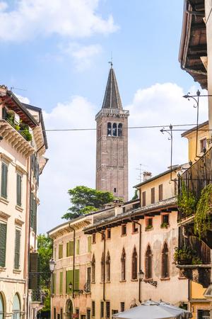 Verona, Italy - July, 11, 2019: street in a center of Verona, Italy