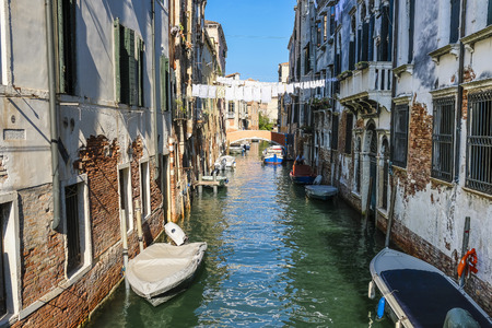 Venice, Italy - July, 07, 2019: cityscape with the image of channel in Venice, Italy Publikacyjne