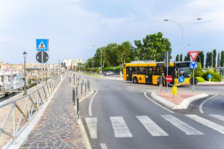 Sotomarina, Italy - July, 11, 2019: bus on a bus station in Sotomarina, Italy