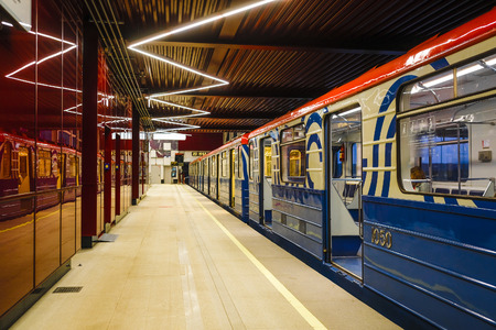 Mosca, Russia - 8 agosto 2019: Interno della stazione della metropolitana di Mosca Prokshino.