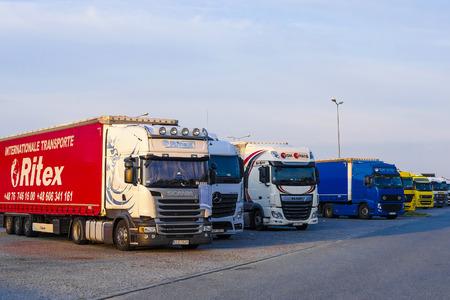 Warsaw region, Poland - August, 1, 2019: trucks on a parking in Poland