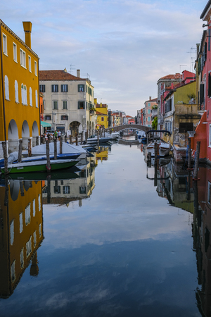 Chioggia, Italy - July, 16, 2019: Landscape with the image of channel in Chioggia, Italy
