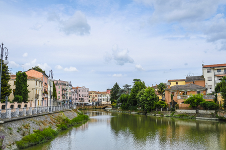 Este, Italy - July, 16, 2019: Landscape with the image of channel in Este, Italy 報道画像