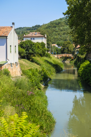 Este, Italy - July, 27, 2019: Landscape with the image of channel in Este, Italy