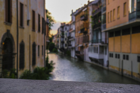 Padova, Italy - July, 27, 2019: Landscape with the image of channel in Padova, Italy 報道画像