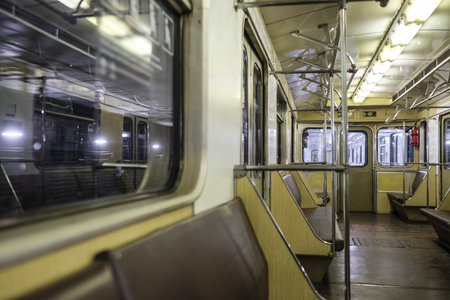 Moscow, Russia - August, 8, 2019: interior of Moscow subway carriage.