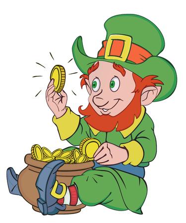 cartoon dwarf: Happy leprechaun with a pot of gold