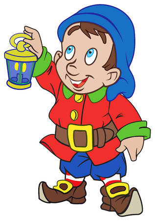 dwarf costume: Good smiling gnome with a lantern in his hand