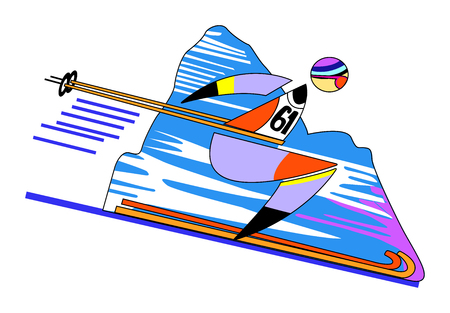 mountain skier: Skier on the highway coming down the mountain Illustration