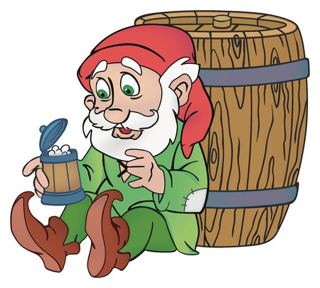 gnome: Old gnome with a cup of beer in his hand