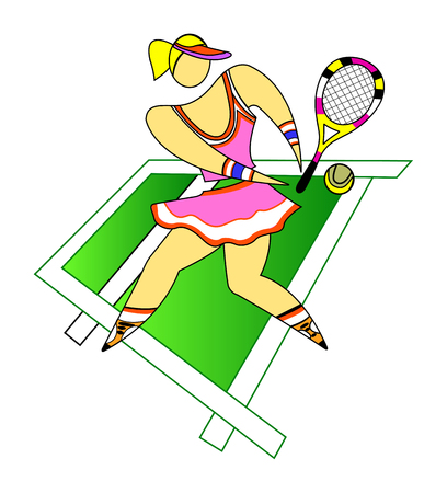 Young girl playing tennis on the championship