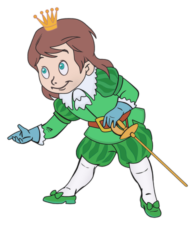 prince charming: Charming prince boy with a sword and a crown