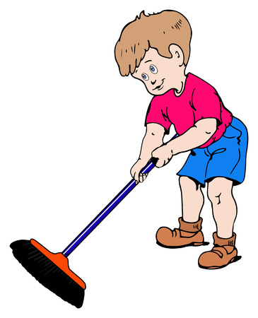 errand: Illustration of a boy sweeping the dirt on a white background