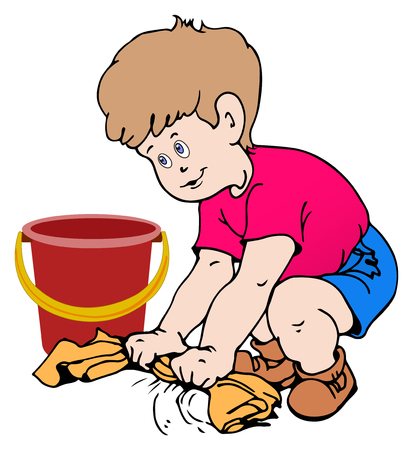 Boy cleaning the floor with a rag illustration
