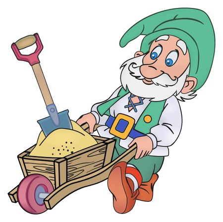 gold shovel: Elderly gnome rolls trolley with a sand