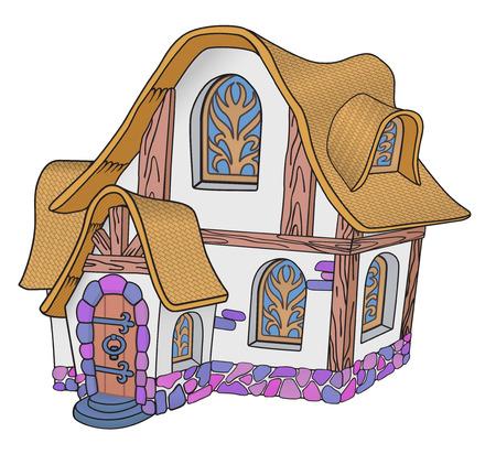 Piccola casa da favola con un tetto di tegole