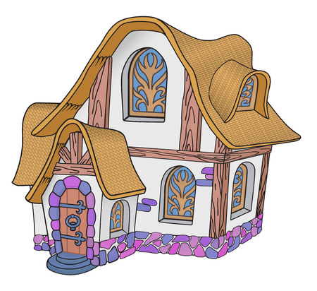 Little fairytale house with a tiled roof Illustration