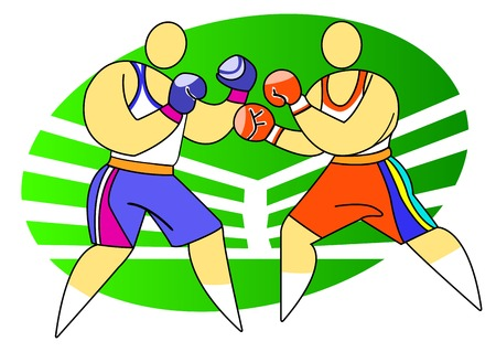 combative: Boxing sport. Two boxers on the ring Illustration