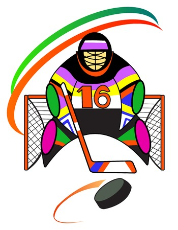 wintersport: illustration of hockey goalkeeper in the gate