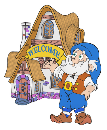 cartoon dwarf: Gnome invites to shi fairytale house with welcome sign Illustration