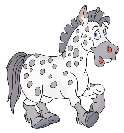 piebald: Illustration of smiling horse on white background