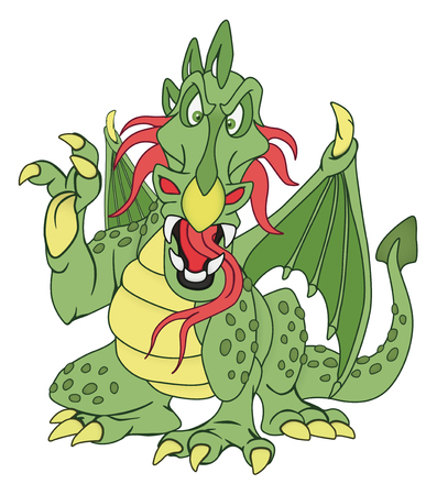 green dragon: Angry green dragon illustration on white background Illustration
