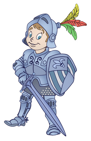 strong boy: Medieval knight with sword and shield illustration