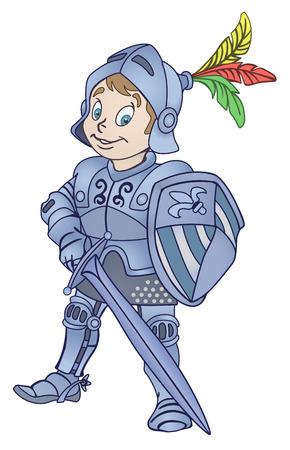 chevalier médiéval avec épée et bouclier illustration